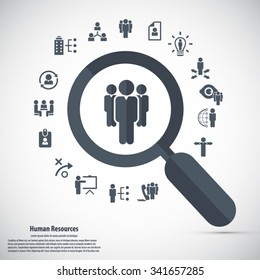 Human resource - conceptual background with human resource related icon set.