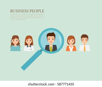 Human resource finding people concept to job with a magnifer. Business people character.