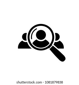 Human Resource Icon. Search for employees and job, business, human resource Looking for talent Search man vector icon Job search Magnifying glass with man inside Vector illustration for graphic design