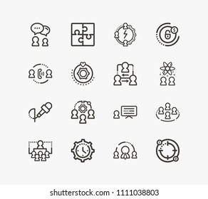 Human resource icon set and coordinate relationship with team abilities, soft skill and savings plan. Conference related human resource icon vector for web UI logo design.