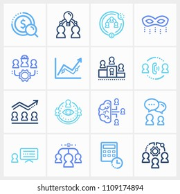 Human resource icon set and team intelligence with collaboration strategy, collective leadership and team success. Target related human resource icon vector for web UI logo design.