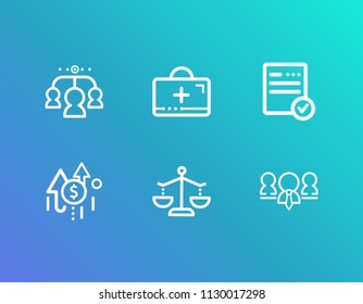 Human resource icon set and team members with assistance, growth needs and team culture. First aid kit related human resource icon vector for web UI logo design.