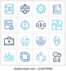 Human resource icon set and team morale with working time, share ideas and negotiation. Inspiration related human resource icon vector for web UI logo design.