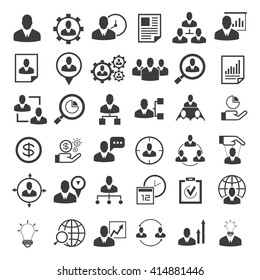 human resource icons set, organization management icons