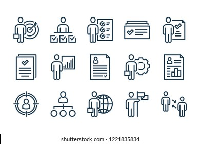 Human Resource and Job Hunting related line icons.