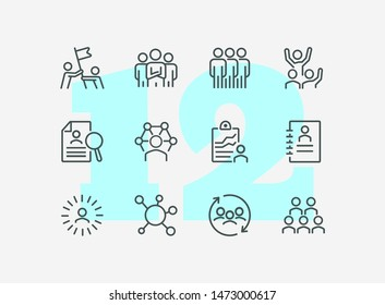Human resource line icon set. Set of line icons on white background. Group, structure, resume. Career concept. Vector illustration can be used for topics like