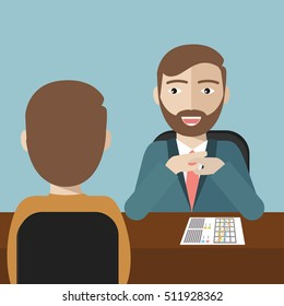 Human resource manager with beard interviewed the applicant with his curriculum vitae for the job vacancy. Employment, recruitment concept.