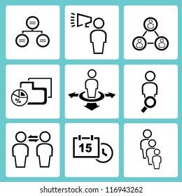 human resource, organization, business management icon set, simple line