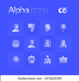 Human resource spot illustrations for branding, web design, presentation, logo, banners. Clean gradient icons set with thin lines and flat shapes. Pure transparency effect on blue color background.