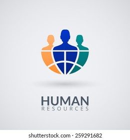 Human resource vector concept logo. Vector Illustration.