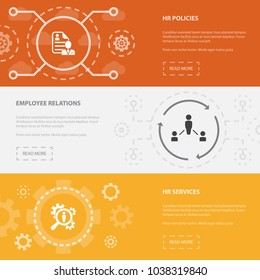 Human Resources 3 horizontal webpage banners template with hr policies, employee relations, hr services concept. Flat modern isolated icons illustration.