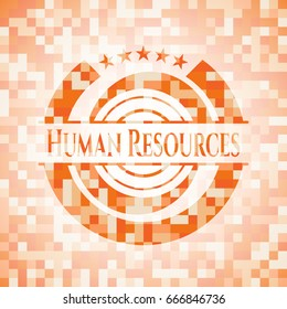 Human Resources abstract emblem, orange mosaic background