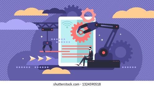 Human resources automation vector illustration. Flat tiny person work concept. 21st century challenge - workforce employment social crisis. Digital era algorithm artificial intelligence domination.