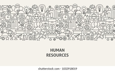 Human Resources Banner Concept. Vector Illustration of Line Web Design. HR Management Template.