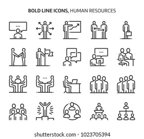 Human resources, bold line icons. The illustrations are a vector, editable stroke, 48x48 pixel perfect files. Crafted with precision and eye for quality.