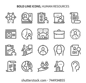 Human resources, bold line icons. The illustrations are a vector, editable stroke, 48x48 pixel perfect files.