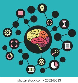 Human resources of brain. Functions and analytical thinking - vector illustration