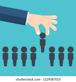 Human resources concept. Hand picking up a candidate, Vector business illustration.