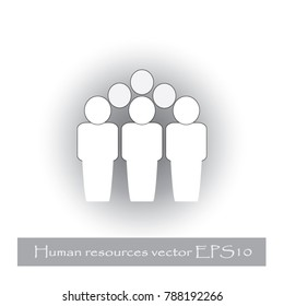 Human resources concept single icon white businessman silhouettes in light circle