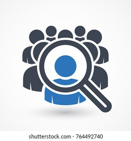Human resources concept, target market and audience, focus group, public relations, vector icon