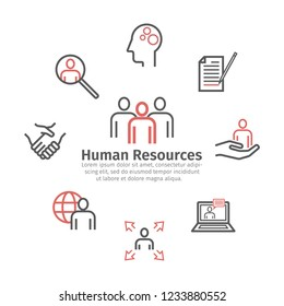 Human Resources Department. Round banner. Line icons. Vector sign for web graphics.