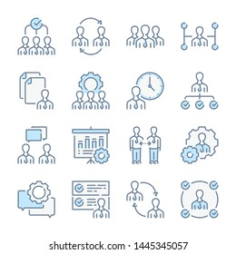 Human resources, Head hunting and Management related blue line colored icons.