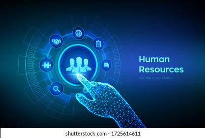 Human Resources. HR management, recruitment, employment, headhunting business concept. Human social network and leadership. Robotic hand touching digital interface. Vector illustration.