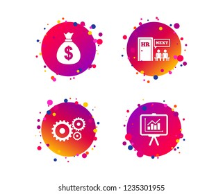 Human resources icons. Presentation board with charts signs. Money bag and gear symbols. Man at the door. Gradient circle buttons with icons. Random dots design. Vector