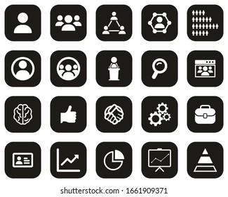 Human Resources Icons White On Black Flat Design Set Big