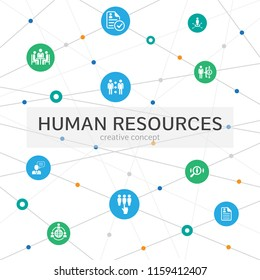 Human Resources Infographic concept. Abstract background with lines, circles and icons. job interview, hr manager, hr planning, outsourcing, resume icons