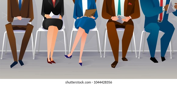 Human resources interview recruitment. Job concept. People sitting on the chairs at the office. Vector illustration