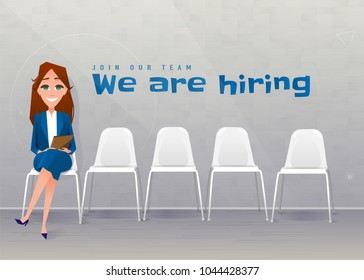 Human resources interview recruitment. Job concept. Young businesswoman sitting on the chair at the office. Copy space. We are hiring. Join our team. Vector illustration