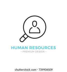 Human resources line icon. Magnifying glass and man silhouette. Black vector human resources icon isolated on white background