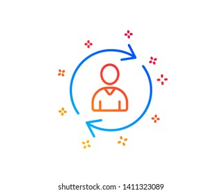 Human Resources line icon. User Profile sign. Person silhouette symbol. Refresh or Update sign. Gradient design elements. Linear person info icon. Random shapes. Vector
