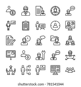 Human Resources Line Vector Icons Set