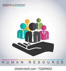 Human resources management concept. Businessmen and businesswomen with open hand, vector