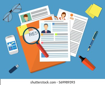 Human resources management concept, searching professional staff, work, analyzing resume, documents papers, magnifying glass, sticky notes, pen. vector illustration in flat design