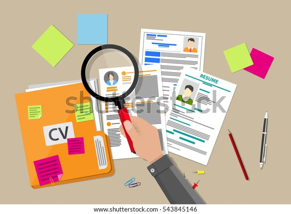 Human resources management concept, searching professional staff, work, analyzing resume, documents papers, hand with magnifying glass, sticky notes, pen. vector illustration in flat design.