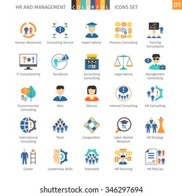 Human Resources And Management Flat Icons Set 01
