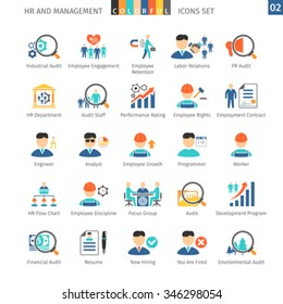 Human Resources And Management Flat Icons Set 02
