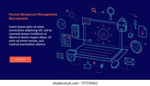 Human Resources Management Recruitment Concept for web page, banner, presentation. Vector illustration