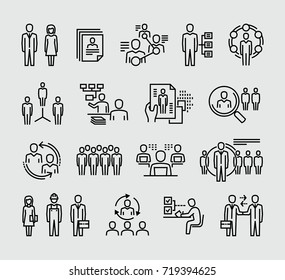 Human resources management vector icons
