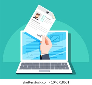 Human resources, online job application, job interview vector concept. Hand holding CV paper. HR management concept, searching professional staff, analyzing resume papers, work.