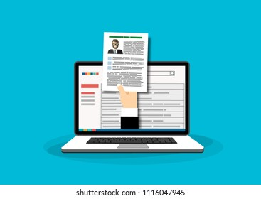 Human resources, online job application, job interview vector concept