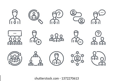 Human resources and People related line icon set. Person linear icons. User and group outline vector sign collection.