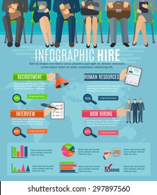 Human resources personnel recruitment and hiring strategy infographics report with  statistic charts and diagrams abstract vector illustration