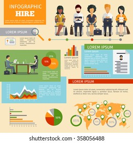 Human resources personnel recruitment vector infographics