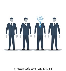 Human resources, recruitment agency, smart people, competition concept, business leader, top manager, vector illustration