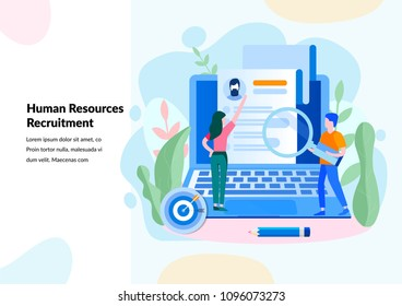 Human Resources, Recruitment Concept for web page, banner, presentation, social media, documents, cards, posters. Vector illustration
