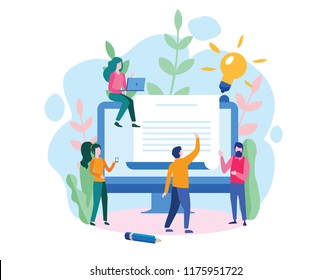 Human Resources, Recruitment Concept for web page, social media. Vector illustration people select a resume for a job, people fill out the form, hiring employees, recruitment agency, team work, HR